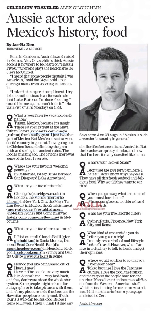 Celebrity Traveler (Tribune Media Services) - 5 December 2010