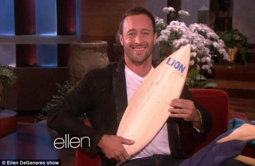 Lion's surfboard