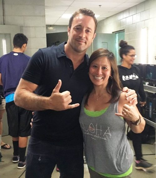 Alex with Janice on set
