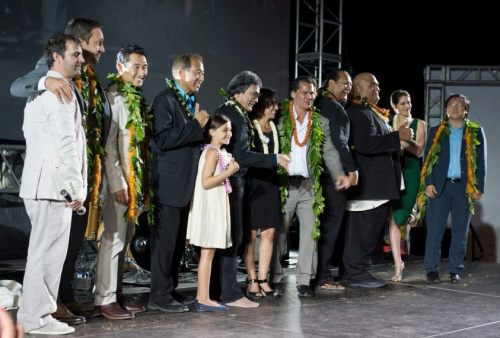 From © Mark Ramelb Photography - Jimmy with H5-0 cast and executives on stage at SOTB 3 (2012)