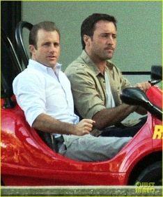 Alex & Scott Driving on set