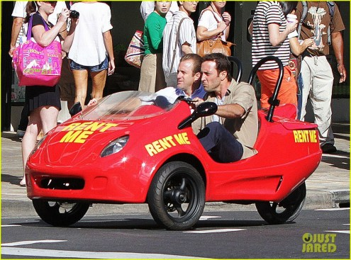 51358756 Actors Scott Caan and Alex O'Loughlin filming a chase seen in a rented mini car on Kalalaua Ave for 'Hawaii Five-O' in Waikiki, Hawaii on March 18, 2014. FameFlynet, Inc - Beverly Hills, CA, USA - +1 (818) 307-4813