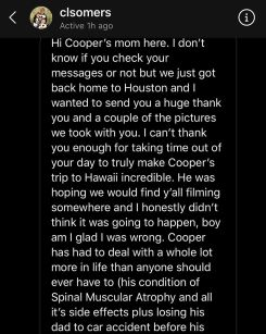 From Cooper's mom